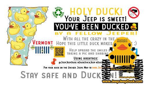 Vermont Free DuckDuckJeep Tag