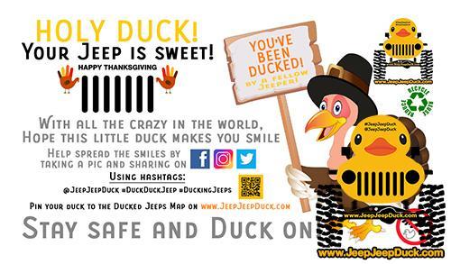 Free Thanksgiving DuckDuckJeep Tag