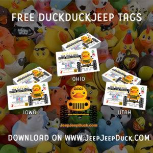 Iowa Ohio Utah Free DuckDuckJeep Tags