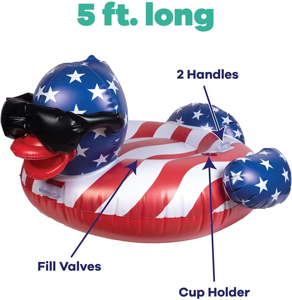 funny rubber inflatable USA flag duck pool